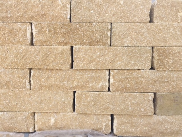FORTICRETE 225 x 100 x 65mm BUFF ANSTONE PITCHED FACE WALLING