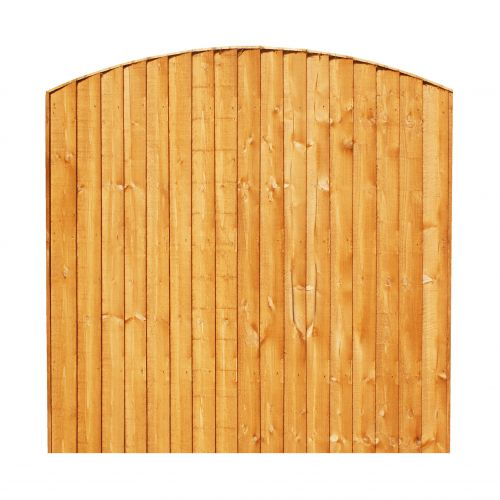CONVEX VERTICAL BOARD FENCE PANEL 6 x 3' (3' HIGH TO TOP OF BOW) BOVB6X3