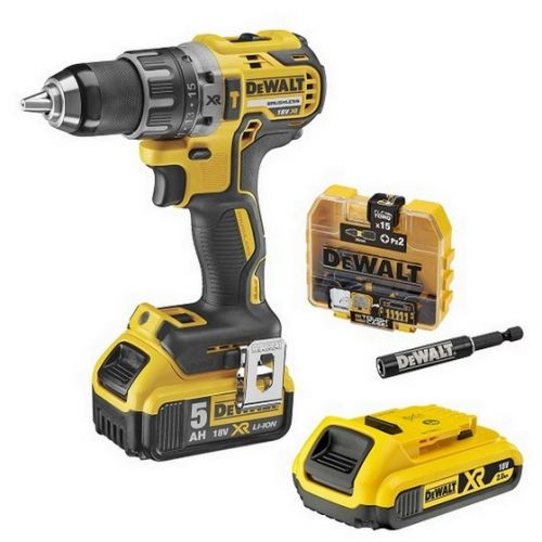 DEWALT DCD796P1 18v BRUSHLESS COMBI HAMMER DRILL WITH 5ah BATTERY +FREE 2ah BATTERY & ACCESSORIES