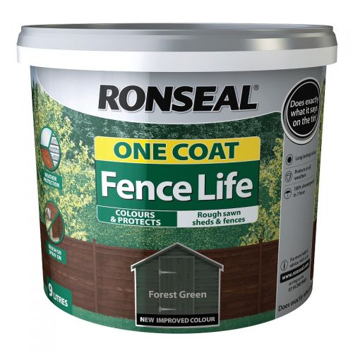 RONSEAL ONE COAT FENCELIFE 9l FOREST GREEN 38297