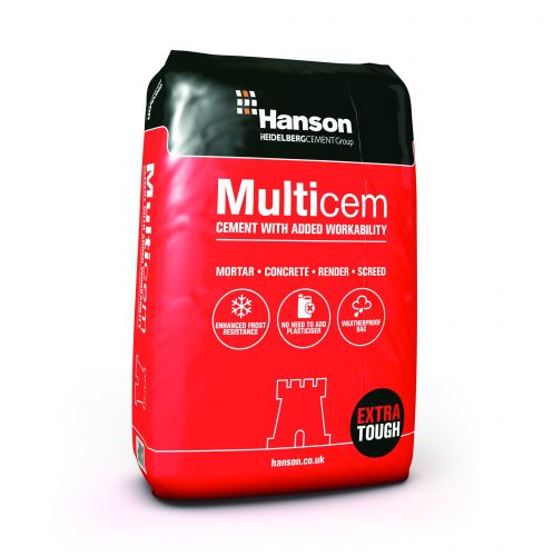 HANSON MULTICEM CEMENT 25kg PLASTIC PACKAGING