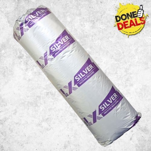 TLX SILVER THIN FOIL ROOF INSULATION 12M2 ROLL (ROLL SIZE 1.2m x 10m) BBA APPROVED