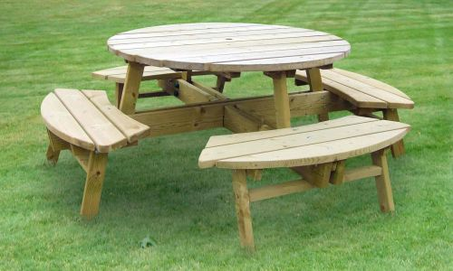 ZEST ROSE ROUND PICNIC TABLE SEATROSE