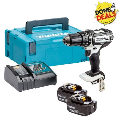 MAKITA DHP482RTWJ 18v WHITE COMBI HAMMER DRILL + 2 x 5.0ah LI-ION BATTERIES CHARGER & MAKPAK CASE